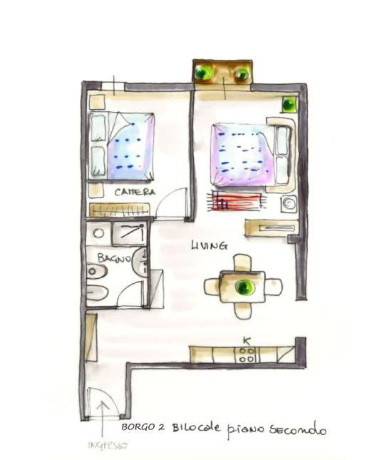 Casa Vacanze Toscana - Appartamento Borgo 2 - Piantina | Corso 15 Case Vacanza