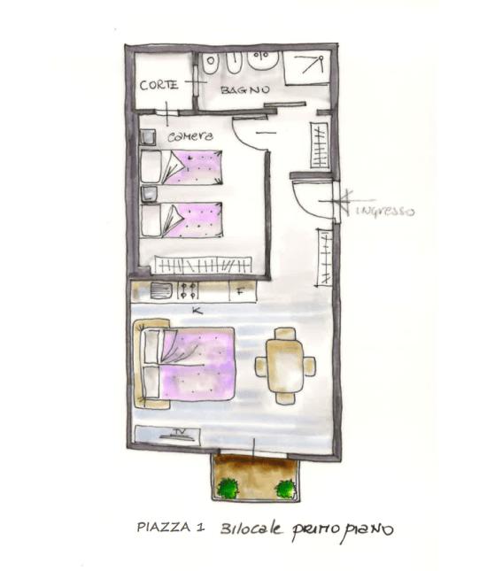Casa Vacanze Toscana - Appartamento Piazza 2 - Piantina | Corso 15 Case Vacanza