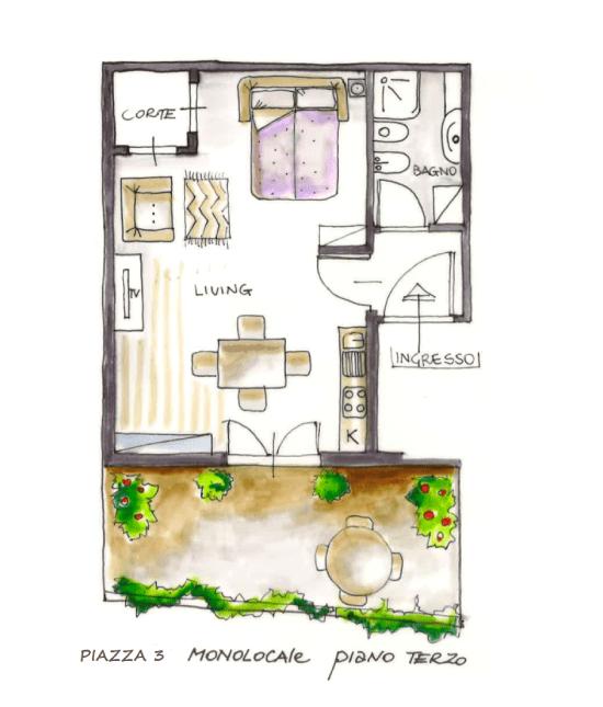 Casa Vacanze Toscana - Appartamento Piazza 3 - Piantina | Corso 15 Case Vacanza