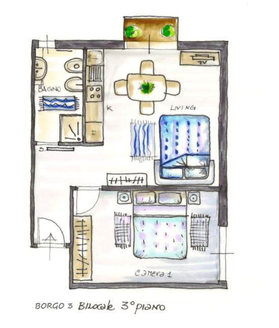 Casa Vacanze Toscana - Appartamento Borgo 3 - Piantina | Corso 15 Case Vacanza